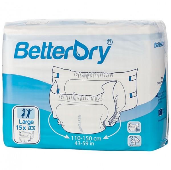 L10K, BetterDry Inkontinenz Einweg-Windelhose, außen Folie, Karton Größe L